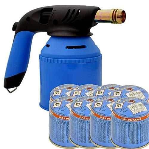 TronicXL Soplete de mano prémium para cartuchos de gas de 190 g + 8 cartuchos de gas, soplete de gas butano con encendido piezoeléctrico