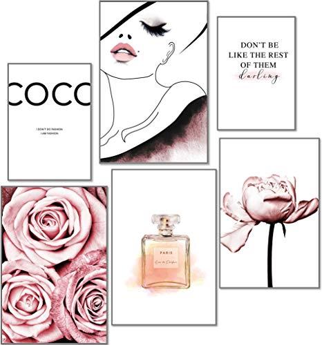 artpin® Moderne Poster Set - Bilder Wohnzimmer Deko Schlafzimmer - Bilderwand ohne Rahmen - Designer Fashion Wandbilder COCO Rose 4x A3 | 2x A4 - W4