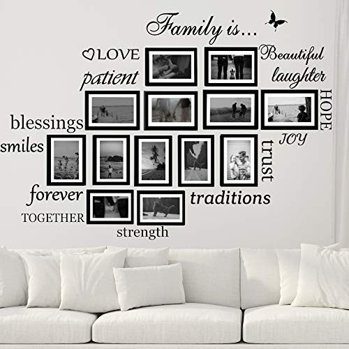 Family Wall Decals Set of 14 Family Words Quotes Vinyl Stickers Picture Frame Wall Decoration DIY Living Room Dining Room Family Room Art Decoration Matte Black The Photo Frames are not Included