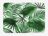 Alfombra de baño de hoja de palma, realista, hojas vívidas de crecimiento de palmera, ecológica, exuberante botánica, decoración de baño con respaldo antideslizante, 40 x 60 cm, verde helecho