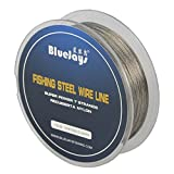 Sedal de acero de BlueJays, alambre recubierto de nailon de 0,3 mm para pescar, 109YDS, 5,9 kg, 1 x 7 hebras de acero inoxidable