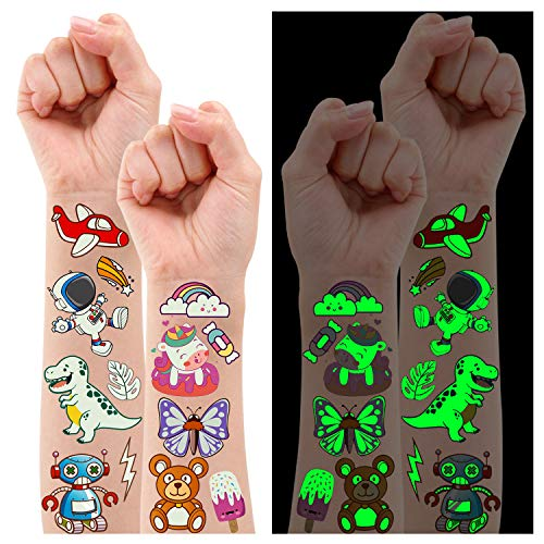 Partywind 380 Styles (30 Sheets) Luminous Tattoos for Kids, Mixed Styles Temporary Tattoos Stickers with Unicorn/Mermaid/Dinosaur/Outer Space/Pirate for Boys and Girls, Glow Party Supplies Gifts for Children