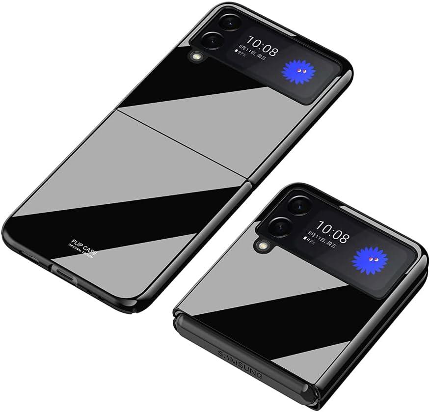 PUROOM for Samsung Galaxy Z Flip 3 Plating PC Crystal Cover Smooth Hard Plastic Anti-Scratch Shookproof Protection Case for Samsung Galaxy Z Flip 3 5G 2021 (Black)
