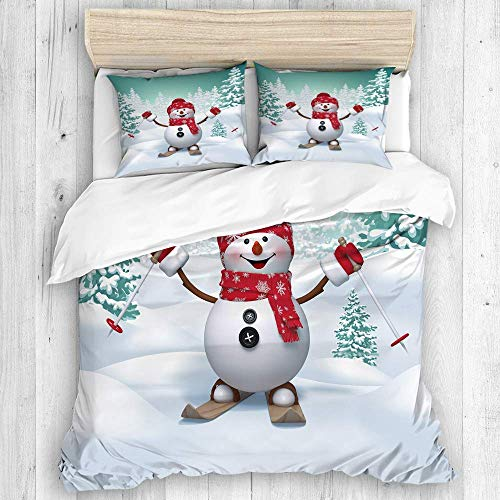 812 3D duvet cover set, 3d happy snowman skiing, winter holiday background, outdoor activity, New Various Patterns Custom 3 Piece Set pillows 2 pack