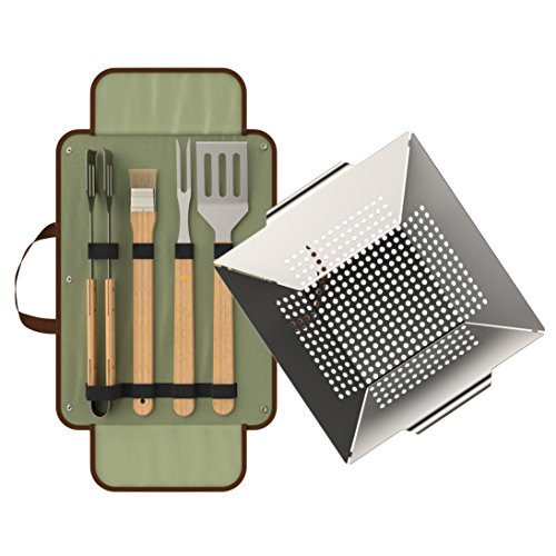 bonVIVO Kuristo Set Barbecue da 5 Pezzi con Accessori da Barbecue - Pinza da Barbecue, Spatola da Barbecue, Forchetta da Barbecue, Spazzola da Barbecue E Cestello da Barbecue, in Acciaio Inox E Legno