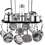 Hanging Pot Rack, Pot and Pan Rack Ceiling Mount Cookware Storage Rack Hanging Organizer with 10 Pot Hooks for Home, Kitchen