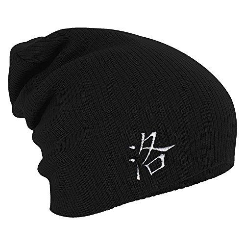 Fan-O-Menal Textilien Longbeanie Slouch-Beanie Mütze Chinesiches Zeichen 54476 Farbe schwarz