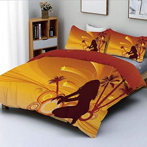 Juego de funda nórdica, grunge abstracto tropical paraíso mujer silueta palmeras estrellas decorativo juego de cama decorativo de 3 piezas con 2 fundas de almohada, amarillo naranja oscuro marrón, Bes