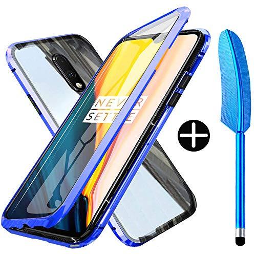 Wishcover Custodia Magnetico per OnePlus 7,OnePlus 6T Cover 360 Gradi Full Body Trasparente Vetro Temperato+Alluminio Metal Bumper con Adsorbimento Magnetico Copertura Case per OnePlus 7/OnePlus 6T
