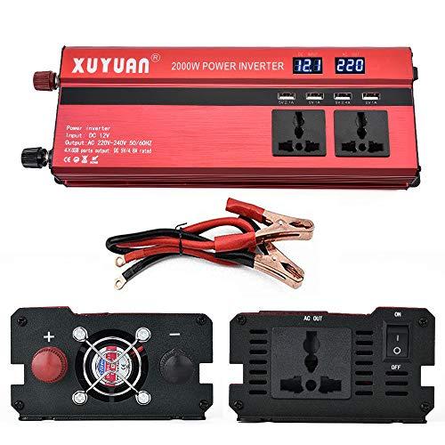 NBQABN Inversor de Corriente Onda Pura 900W Pico 2000W Transformador De 12v 24v A 220v 230v convertidor USB LED 2 Enchufe con Control Remoto inalámbrico para Coche Caravana cámping de Viaje,24V