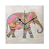 DragonSwordlinsu COOSUN - Reloj de pared con diseño de mandala de elefante, silencioso, acrílico no pinchazos, 20 cm, cuadrado decorativo para el hogar, oficina, cocina, dormitorio, sala de estar