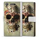 DeinDesign Étui Compatible avec Sony Xperia XZ1 Compact Étui Folio Étui magnétique Tête de Mort...