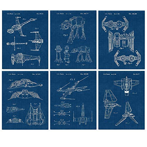 Vintage Star Vessels Patent Poster Prints, Set of 6 Photos (8x10) Unframed, Great Wall Art Decor Gifts Under 20 for Home, Office, Studio, Garage, Man Cave, Student, Comic-Con, Sci Fi Wars & Movies Fan