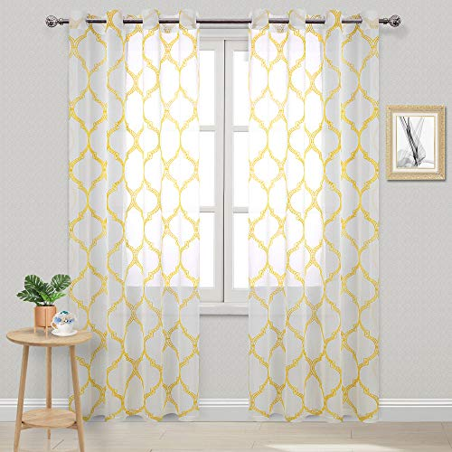 DWCN Moroccan Tile Sheer Curtains - Faux Linen Embroidered Geometric Grommet Top Semi Voile Bedroom and Living Room Window Curtain Panels, Set of 2 Window Curtain Panels, 52 x 84 Inches Long, Yellow