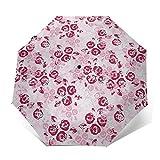 Paraguas Plegable Automático Impermeable Granate 55, Paraguas De Viaje Compacto a Prueba De Viento, Folding Umbrella, Dosel Reforzado, Mango Ergonómico