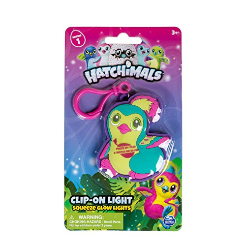 Hatchimals Clip On Squeeze Glow Light, 2.75 inches - Green/Teal