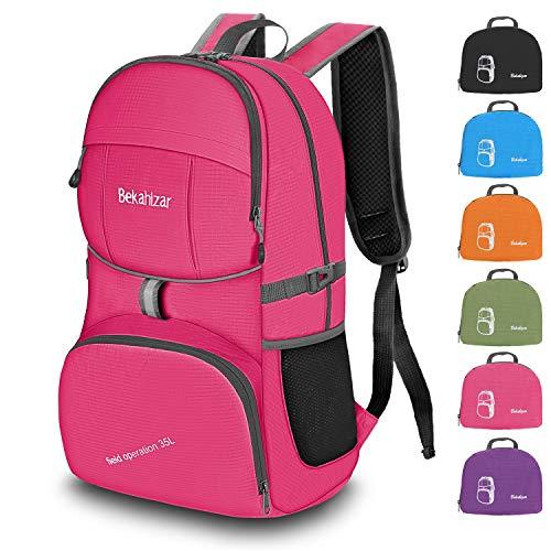 Bekahizar Handgepäck Rucksack 35 Liter, Leichter Faltbarer Reiserucksack für Herren Damen Outdoor Camping Wandern Radfahren Tageswanderungen (pink)