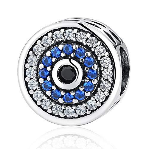 FeatherWish - Abalorio redondo de plata de ley 925 con circonita cúbica azul, compatible con pulseras Pandora, pulseras europeas de 3 mm o collar