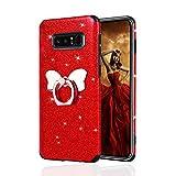 Misstars Glitzer Hülle für Galaxy Note 8 Rot, Bling Pailletten Weiche TPU Silikon Handyhülle Anti-Rutsch Kratzfest Schutzhülle mit Schmetterling Ring Ständer für Samsung Galaxy Note 8