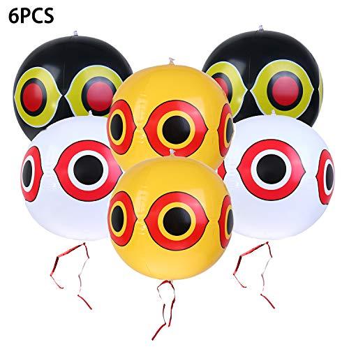 Olgaa 6 Stück Vogelabwehr-Luftballons mit gruseligen Augen, Luftballons mit Augenaufkleber und Seil zum Abwehr von Spechten, Tauben, Spatzen, 3 Farben