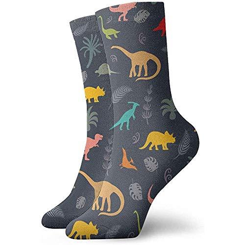 Uosliks Dinosaurier Silhouetten Athletic Casual Running Socken