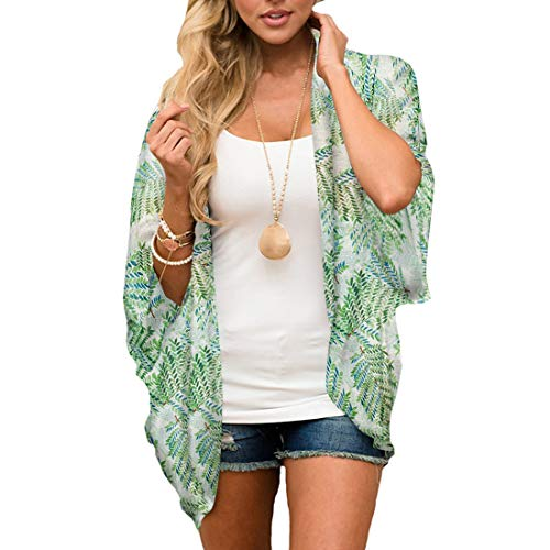 ECOMBOS Damen Florale Kimono Cardigan - Chiffon Cardigan Tops Casual Lose Bluse Shawl Sommer Boho Beach Cover up Leichte Strand Jacke (Weiß+Grün, S)