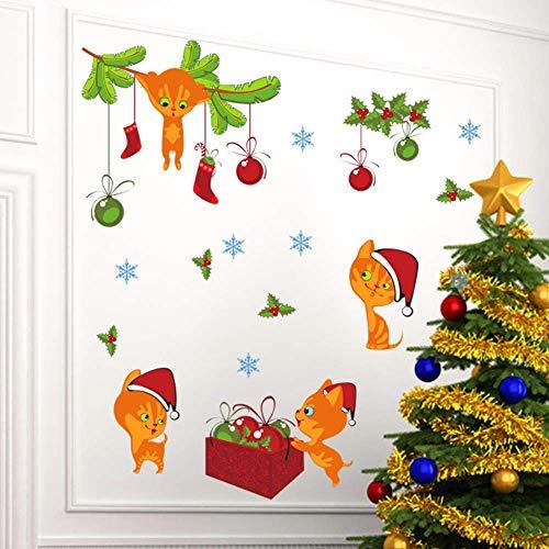 Feliz Navidad gato campanas calcetín calcomanías de pared para habitaciones de niños tienda ventana dibujos animados animal tatuajes de pared arte año nuevo cartel regalo de pvc