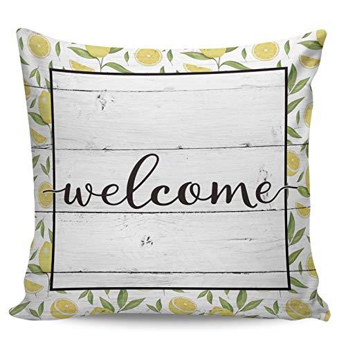 Fundas de almohada de 40,6 x 40,6 cm, diseño de azulejos de limón fresco, diseño retro de madera para decoración del hogar