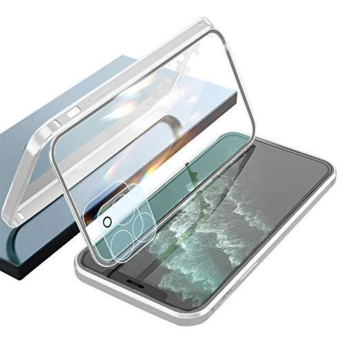 Ellmi Cover per iPhone 11 PRO Anti Separato Dritto Tagliare Telaio Alluminio Vetro Temperato Cover 360 Protezione Metallo Custodia per iPhone 11 PRO (Argento)