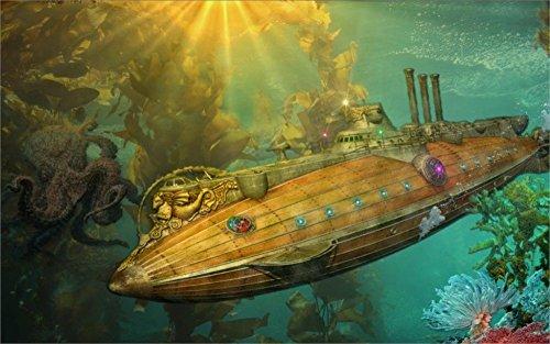 Tomorrow sunny steampunk punk sci fi vehicles submarine ocean art fantasy underwater 24x36 inch Silk Poster wall decor