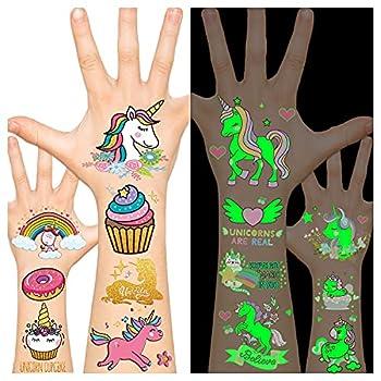 Leesgel Unicorn Tattoos for Kids Unicorn Party Favors Supplies Kids Temporary Tattoos Unicorn Toy  glow + Metallic Glitter