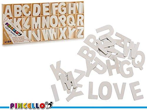 Juego de letras 104 piezas madera blanca