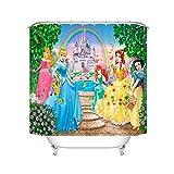 Fgolphd Duschvorhang Disney Princess Meerjungfrau Arielle 120x200 180x200180x180 200x240 Textil Bunt Pink Badezimmerteppich 4-teiliges Set Shower Curtains (180 x 180 cm,9)