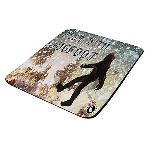 Beer with Bigfoot - Mouse Pad Thick Neoprene Rectangle for Home Office & Gamers (use as a Water Proof hot pad,Trivet,Mousepad)