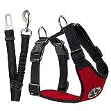 Lukovee Imbracatura regolabile per cani con cintura di sicurezza, tessuto a rete traspirante in lattice, pettorina da viaggio per auto