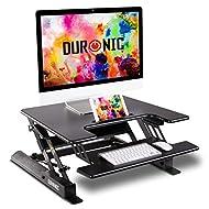 Duronic Sit-Stand Desk DM05D19   Height Adjustable Office Workstation   72x56cm Platform   Raises fr...