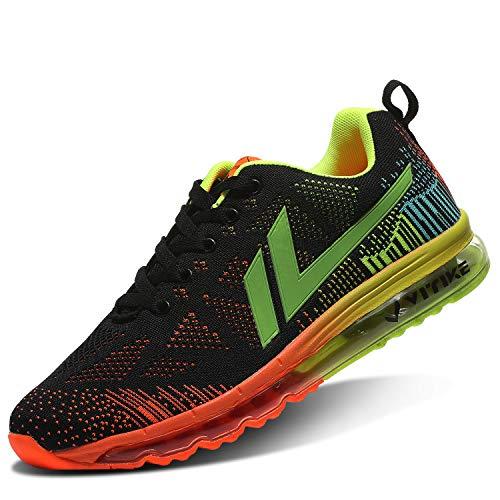 ASHION - Zapatillas de deporte para hombre, de malla transpirable, ligeras, deportivas, deportivas, deportivas, para correr, fitness, 8,5, color naranja