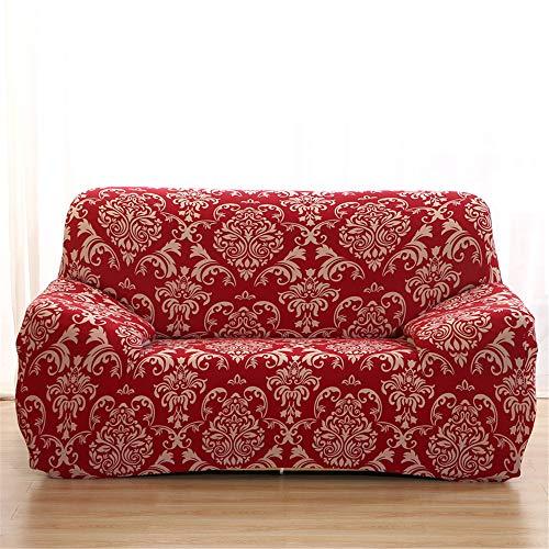 Surwin Sofabezug Sofa Überwürfe 1 2 3 4 Sitzer, Muster Elastische Universal Sofahusse Sofa Abdeckung Stretch Schonbezug Couchbezug für Armlehnen Sofa (rot,2 Sitzer (145-185cm))