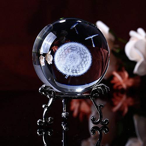 Bola De Cristal 3D Tallado Diente De León Esfera De Vidrio Pisapapeles Con Soporte De Floración Plateado Plateado, 2.4 Pulgadas (60 Mm)-6 Cm_Base De Plata
