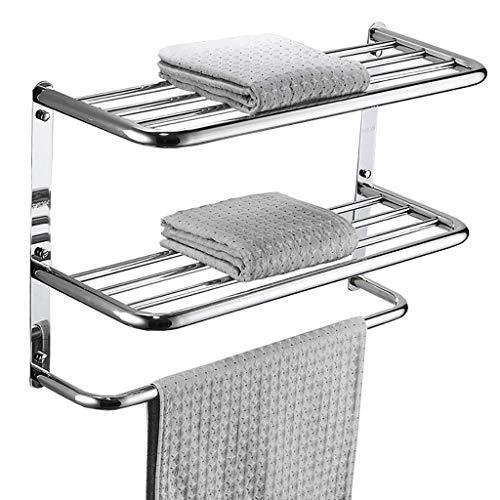 HYYDP Estantes para Ducha Toallero Estante de baño Perforado baño Colgante Tres Capas de Acero Inoxidable 304 Doble Capa (Size : 500mm)