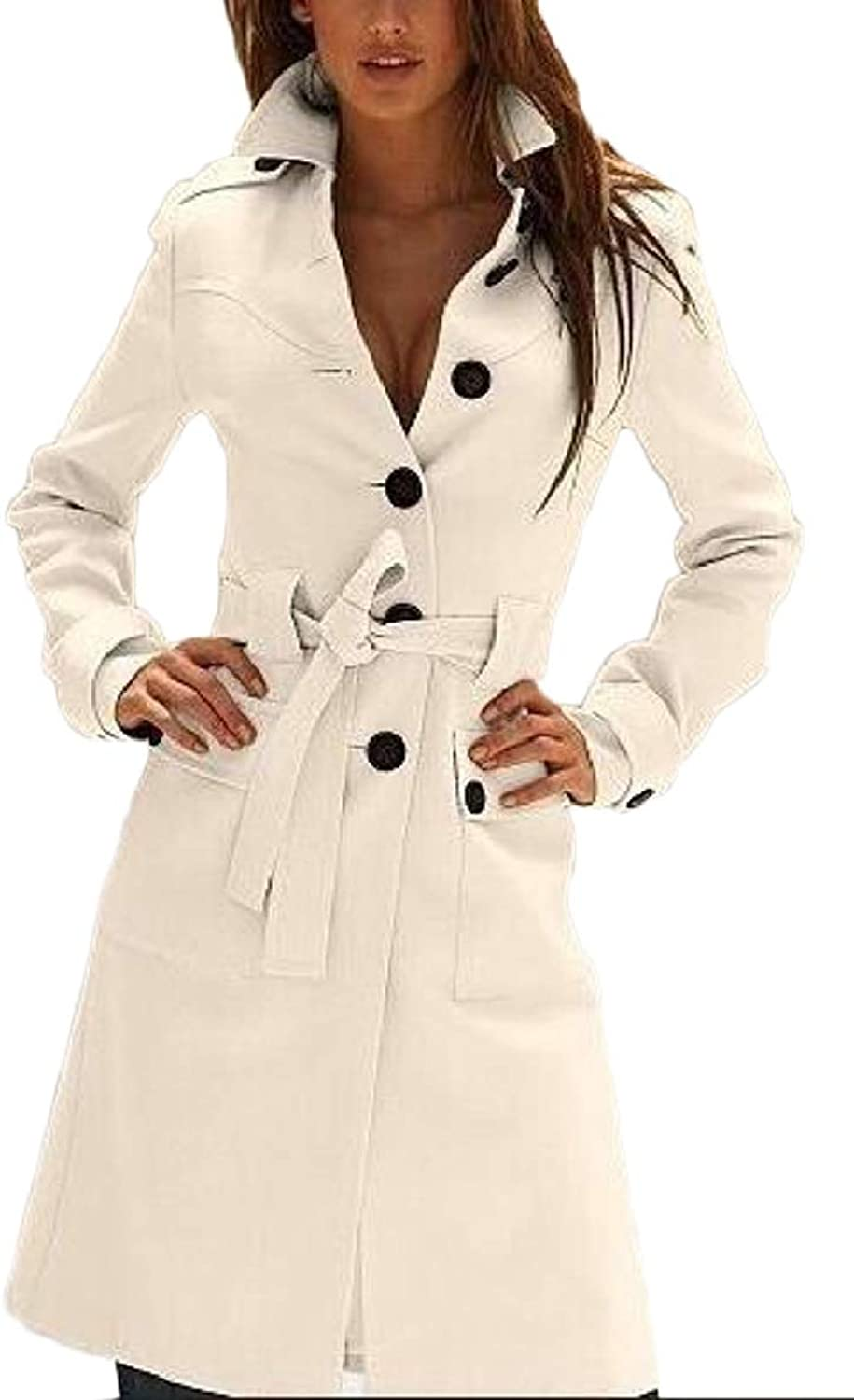 Xswsy XGCA Women's Single Breasted Slim Fit Wool Long Trench Outwear Coat