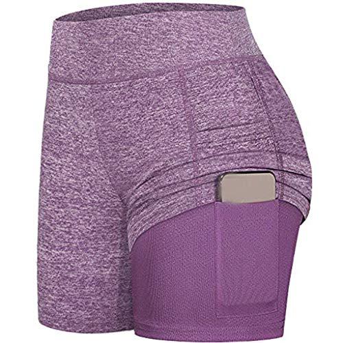 HULKY Damen 2 in 1 Sport Shorts Yoga Shorts Laufshorts Fitness Trainingsshorts Stretch Tennis Shorts mit Inner Pockets(Lila,L)
