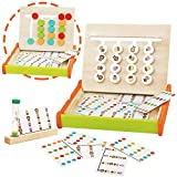 Kids Montessori Toys 4 Animals and Colors Sorting Wooden Family Board Games for Children Logic Matching Slide Puzzles Early Learning Autism Toy Festival Birthday Gifts for Boys Girls 3 4 5 Year Old