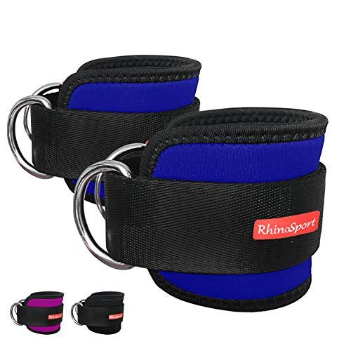 RHINOSPORT Fußschlaufen 2 stücke Fußriemen D-Ring Fußmanschetten für Fitness Training am Kabelzug - Ankle Straps für Frauen und Männer Fitness Zubehör (Blau)