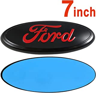 Ruanye For FORD 7 Inch Front Grille Tailgate Emblem, 3D Oval 3M Double Side Adhesive Tape Sticker Badge for Ford Escape Excursion Expedition Freestyle F-150 F-250 F350 (Red)