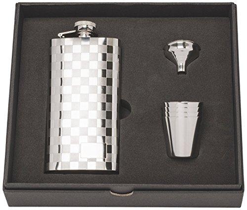 Herbertz Herren Taschenflasche-Geschenkset mit 4 Bechern und Einfülltrichter Flachmann, Silber, 147ml