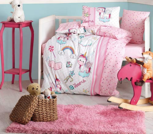 100% Cotton Unicorn Themed Nursery Baby Bedding Set, Toddlers Crib Bedding for Baby Girls, Duvet Cover Set with Comforter, Pink, 5 Pieces
