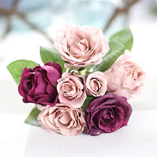 SJHQ Flor Preservada Flores Falsas Poco Rosa sosteniendo Flores Ramo de Flores Artificiales artesanías para el día de San Valentín Boda decoración del hogar Flor Artificial (Color : Purple)