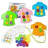 HVDHYY 74piezas Juguetes Montessori Educativo Motora Fina Ropa y botón Juego de Enhebrar Viaje Aprendizaje de Habilidades Básicas Vida para 3+ Niños y Niñas Navidad Cumpleaños Regalo