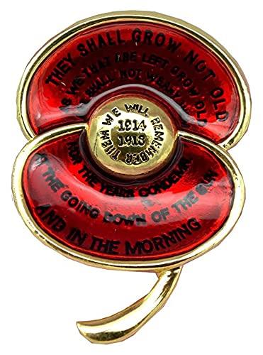 X/L UK British Remembrance Poppy Brooch Collection Spilla in Smalto e Foglie per Il Remembrance Day Memorial Veterans Lest We Forget